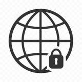 Kuli ziemskiej ikona i kłódka Sieć wyszukuje zbawczą ikonę sieć zabezpieczać ilustracja wektor