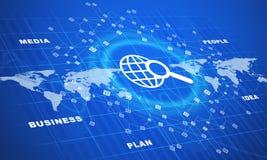 Kuli ziemskiej ikona z biznesowymi słowami Fotografia Stock