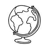 Kuli ziemskiej ikona zarysowany Obrazy Royalty Free