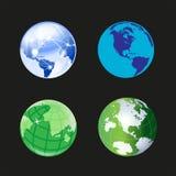 Kuli ziemskiej ikony 3d światowy set Obrazy Stock