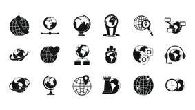 Kuli ziemskiej ikony set, prosty styl Zdjęcie Royalty Free