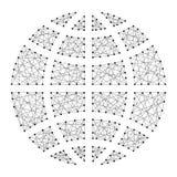 Kuli ziemskiej ikony szerokości i południka symbol od abstrakcjonistyczny futurystycznego Royalty Ilustracja