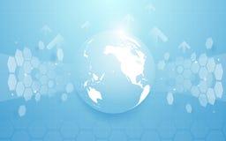 Kuli ziemskiej mapa i abstrakt technologia techniki sześciokątów pojęcia cyfrowy tło cześć Zdjęcia Stock
