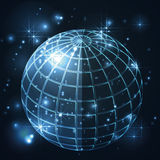 Kuli ziemskiej noc w wszechświacie i dzień, galaxy z gwiazdami w błękitnym tle Obraz Stock