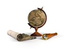 Kuli ziemskiej spyglass i mapa Obrazy Royalty Free