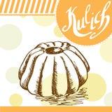 Kulich传染媒介卡片 与书法元素的手拉的海报 库存照片