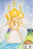 Kulich, свеча и золотые куполы собора стоковое фото rf
