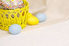 Kulich cake with easter decoration and colored eggs. Kulich cake with easter decoration and colored egs, symbol of Traditional Orthodox Easter Stock Photography