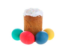 Kulich and colored eggs Stock Images