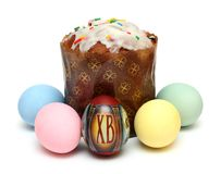Kulich and eggs Stock Photo