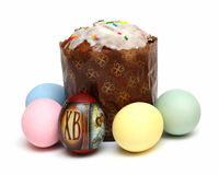 Kulich and eggs Royalty Free Stock Photography
