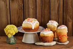 Kulich, Russian easter sweet breads decorated with icing and can Stock Photography