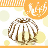 Kulich vector card. Hand-drawn poster with calligraphic element.  Stock Photos