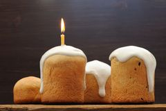 Kulichi, traditional Russian Easter cake with icing and candle  Stock Photo