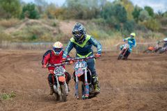 Kulikov Vyacheslav 444. SERPUKHOV, RUSSIA - OCTOBER 7, 2017: Kulikov Vyacheslav 444, Class Juniors absolute, in the 4 stage MX series, the Red Wings Cup 2017 stock image
