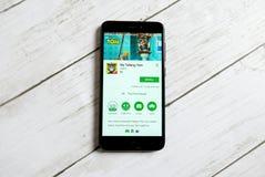KULIM, ΜΑΛΑΙΣΊΑ - 11 ΑΠΡΙΛΊΟΥ 2018: Η αίτηση ομιλίας μου Tom σε ένα αρρενωπό κατάστημα παιχνιδιού Google Στοκ φωτογραφίες με δικαίωμα ελεύθερης χρήσης