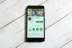 KULIM,MALAYSIA - APRIL 11TH,2018 : Candy Crush Saga application on an android Google Play Store.  Royalty Free Stock Image