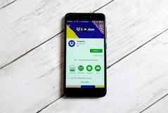 KULIM MALAYSIA - APRIL 11TH, 2018: Dropboxapplikation på ett lager för androidGoogle lek royaltyfri foto