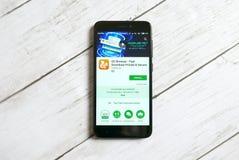 KULIM MALAYSIA - APRIL 11TH, 2018: Uc-webbläsareapplikation på ett lager för androidGoogle lek royaltyfria bilder