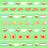 Kulinarischer Dekor auf hellgrünem Lizenzfreie Stockfotos