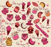 Kulinarisches Muster. Symbole von Paris. Lizenzfreie Stockfotos