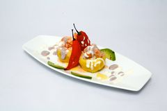Kulinarisk PERUAN: causarellena Potatos deg arkivbilder