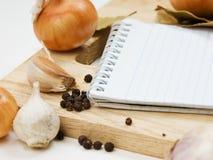 kulinariska anteckningsbokrecept Arkivfoto