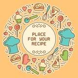 Kulinariskt receptkort med målbeståndsdelar och kitchenware stock illustrationer