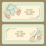 Kulinariskt receptkort med tappningbeståndsdelar och textstället stock illustrationer