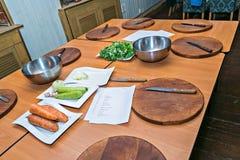 Kulinariskt seminarium Begreppsmatlagning arkivfoto