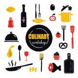 Kulinariskt seminarium Inskrift och olika laga mat redskap och matbeståndsdelar royaltyfri illustrationer