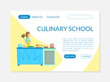 Kulinariskt skolabaner som landar sidamallen, matstudion, laga mat grupp eller illustrationen för kursWebsitevektor stock illustrationer