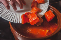Kulinarna czerwieni ryba polewka Fotografia Royalty Free