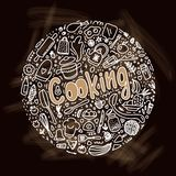 Kulinarna doodle round ilustracja Nakre?lenia kitchenware sk?adniki ilustracji