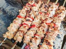 Kulinarna grill wieprzowina na węglach pieczone mięso Szybkie Żarcie Zdjęcia Stock