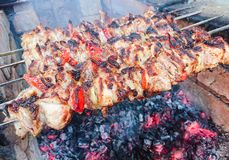 Kulinarna grill wieprzowina na węglach pieczone mięso Szybkie Żarcie Zdjęcie Royalty Free