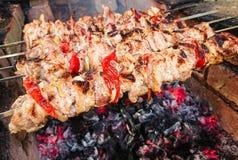 Kulinarna grill wieprzowina na węglach pieczone mięso Szybkie Żarcie Obraz Stock