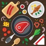 Kulinarna ilustracja z świeżą żywnością w Płaskim projekcie Obraz Royalty Free