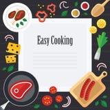 Kulinarna ilustracja z świeżą żywnością w Płaskim projekcie Obrazy Stock