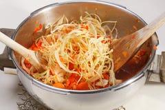 Kulinarna kapusta i Czerwoni pieprze Fotografia Royalty Free