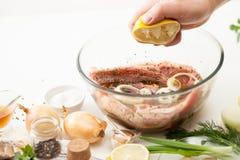 Kulinarna mięsna marynata na kuchennym bielu stole obraz royalty free