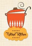 Kulinarna niecka z wiadomością Fotografia Stock