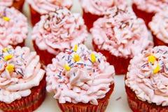 Kulinarne babeczki w domu Różowa Kremowa Wypiekowa dekoracja fotografia stock
