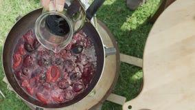 Kulinarne dojrzałe śliwki w smażyć nieckę z czerwonym winem zdjęcie wideo