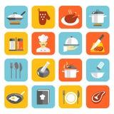 Kulinarne ikony Płaskie Fotografia Royalty Free