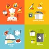 Kulinarne ikony płaskie Obraz Stock