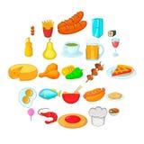 Kulinarne różnorodność ikony ustawiać, kreskówka styl ilustracja wektor