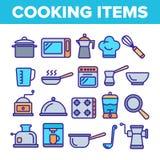 Kulinarnego rzecz wektoru Cienkie Kreskowe ikony Ustawia? ilustracji