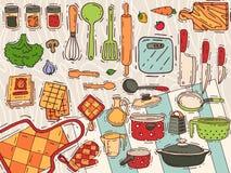 Kulinarnego wyposażenia wektorowy kitchenware, cookware dla jedzenia z kuchenną ilustracją lub dishware ilustracja wektor