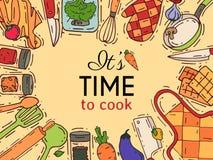 Kulinarnego wyposażenia wektorowy kitchenware, cookware dla jedzenia z kuchenną ilustracją lub dishware ilustracji